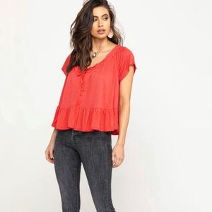 NWT FREE PEOPLE Charlie Button Front Swing Tee